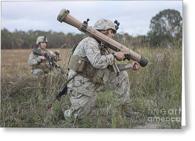 Hamels Photographs Greeting Cards - Marines Conduct A Simulated Attack Greeting Card by Stocktrek Images
