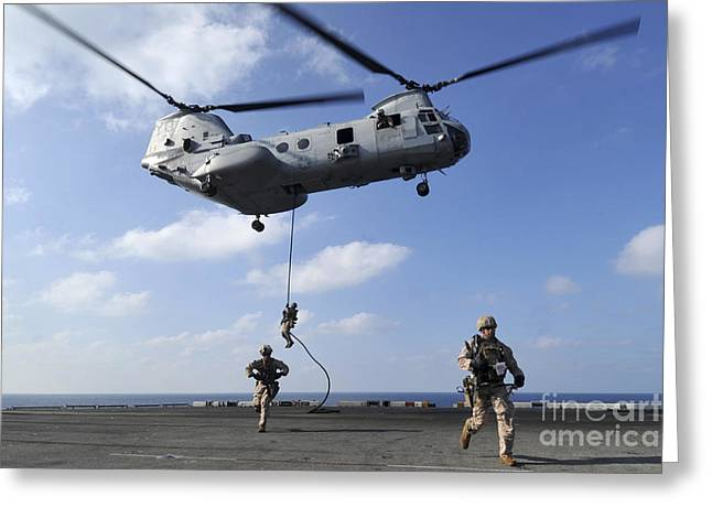 Fast-roping Greeting Cards - Marines Fast Rope From A Ch-46e Sea Greeting Card by Stocktrek Images