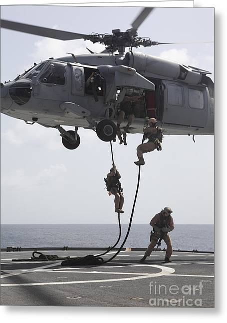 Fast-roping Greeting Cards - Marines Fast-rope From An Mh-60s Sea Greeting Card by Stocktrek Images