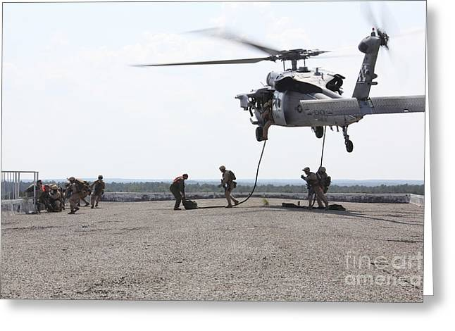 Fast Rope Greeting Cards - Marines Fast-rope Onto Their Objective Greeting Card by Stocktrek Images