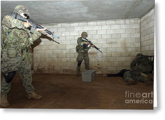 Harmful Greeting Cards - Marines Hold An Saso Instructor Greeting Card by Stocktrek Images