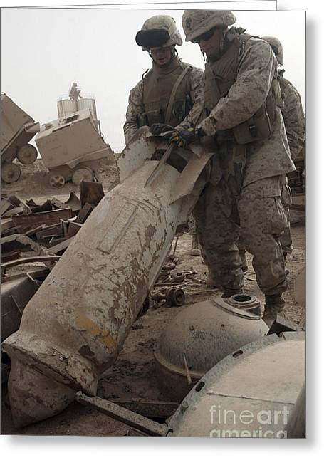 Iraq Greeting Cards - Marines Lift Up A Bomb To Determine If Greeting Card by Stocktrek Images