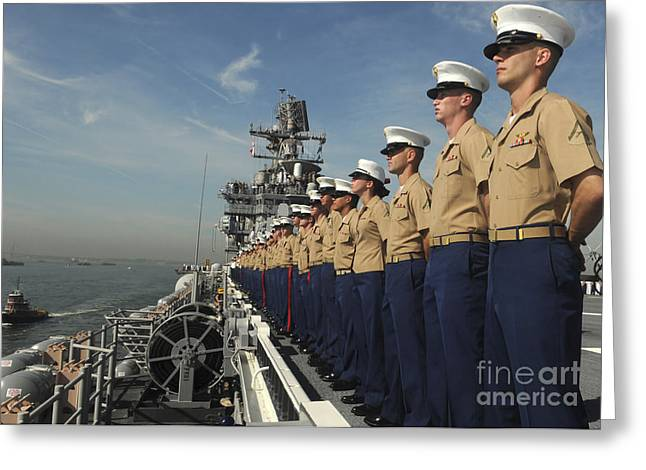 Navy Dress Greeting Cards - Marines Man The Rails Aboard Greeting Card by Stocktrek Images