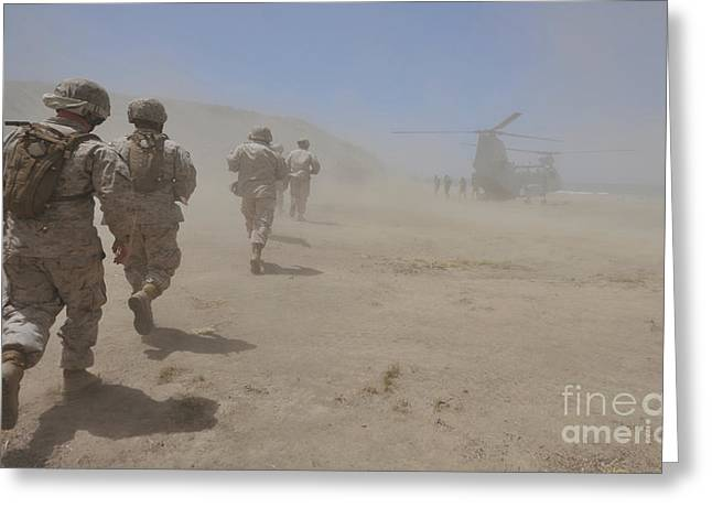 Clouds In Motion Greeting Cards - Marines Move Through A Dust Cloud Greeting Card by Stocktrek Images
