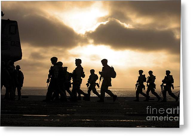 Jogging Greeting Cards - Marines Move To A Firing Line Greeting Card by Stocktrek Images