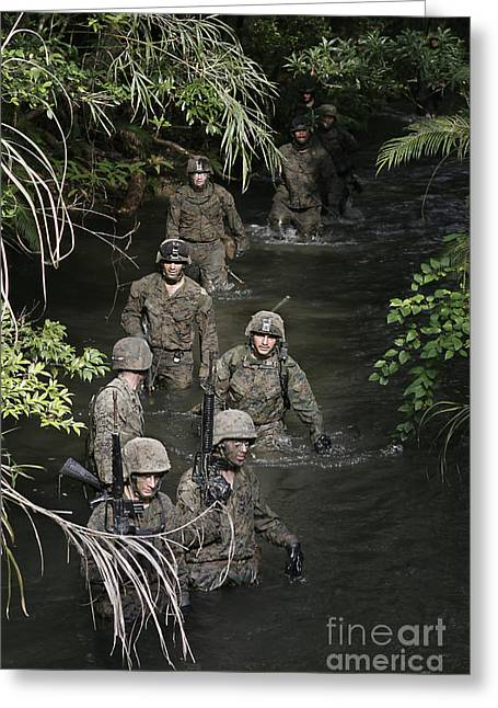 Jungle Warfare Greeting Cards - Marines Move To Their Next Obstacle Greeting Card by Stocktrek Images