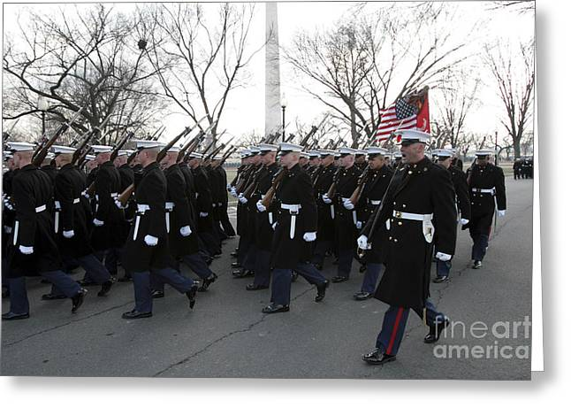 Inauguration Greeting Cards - Marines Participate In The 2009 Greeting Card by Stocktrek Images