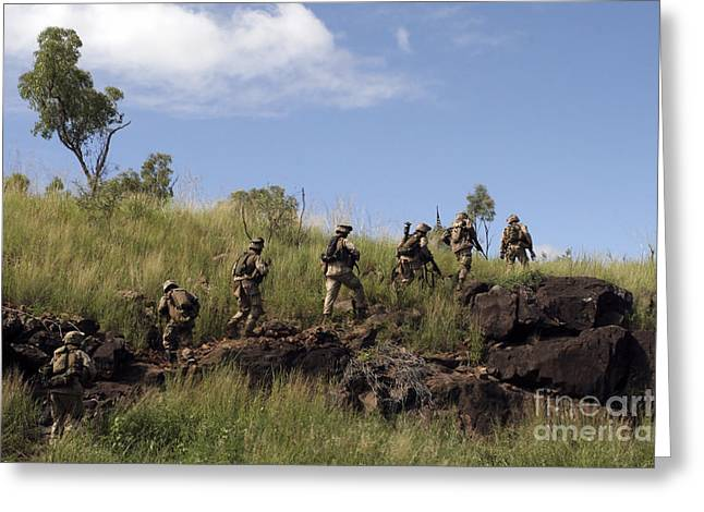 Foot Patrol Greeting Cards - Marines Patrol The Australian Outback Greeting Card by Stocktrek Images