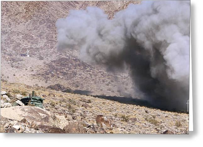 Detonating Greeting Cards - Marines Perched Atop Machine Gun Hill Greeting Card by Stocktrek Images