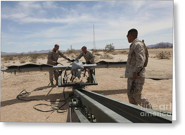 Launcher Greeting Cards - Marines Place An Rq-7 Shadow Unmanned Greeting Card by Stocktrek Images