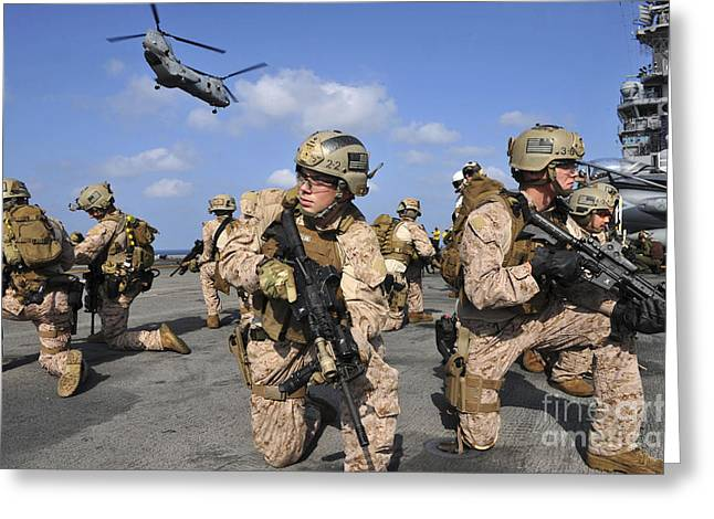 Arabian Knights Greeting Cards - Marines Position Themselves Greeting Card by Stocktrek Images