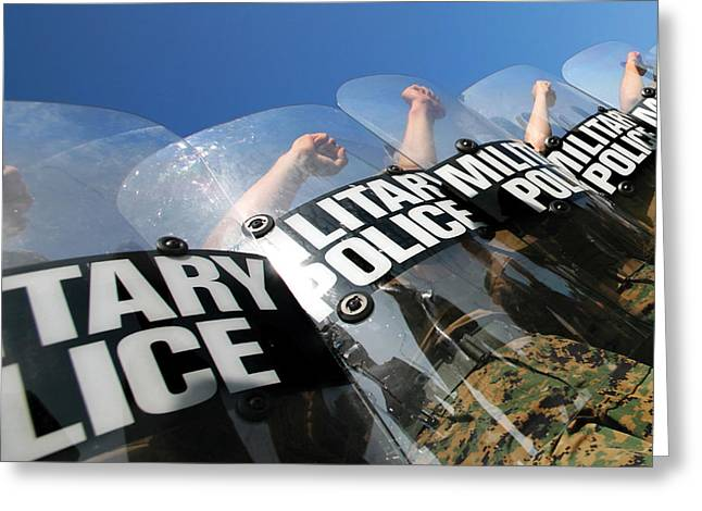 Law Enforcement Greeting Cards - Marines Practice Riot Control Greeting Card by Stocktrek Images