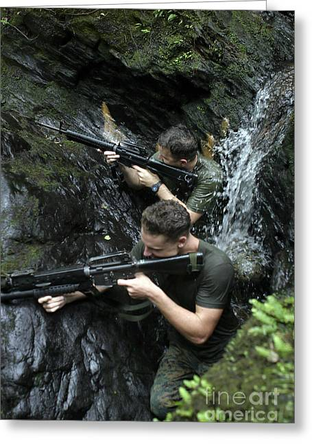 Jungle Warfare Greeting Cards - Marines Provide Cover In The Northern Greeting Card by Stocktrek Images