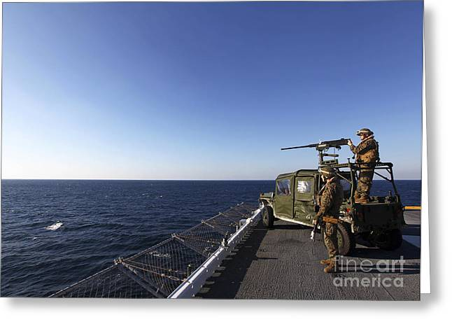 Copy Machine Greeting Cards - Marines Provide Defense Security Greeting Card by Stocktrek Images