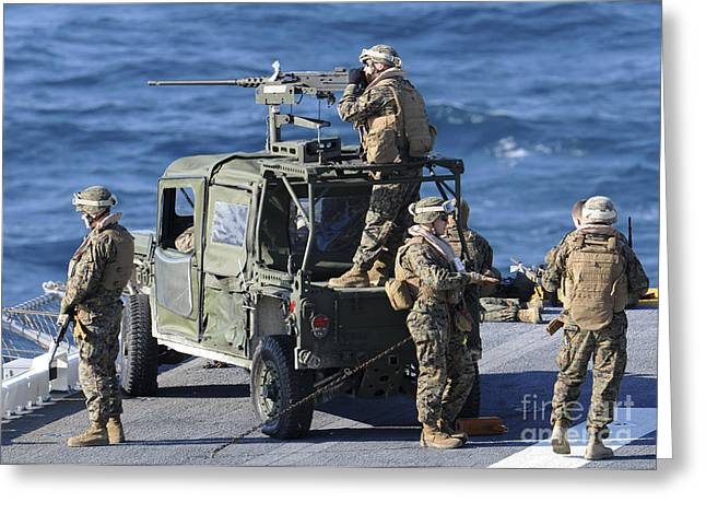 Internally Greeting Cards - Marines Provide Security Aboard Greeting Card by Stocktrek Images