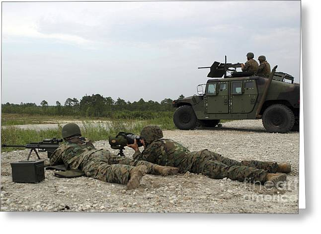 .50 Caliber Greeting Cards - Marines Provide Support Fire On Targets Greeting Card by Stocktrek Images
