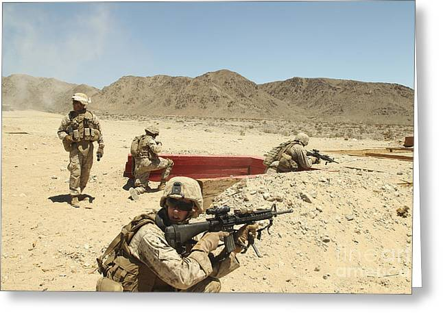 Marines Provide Supporting Fire Greeting Card by Stocktrek Images