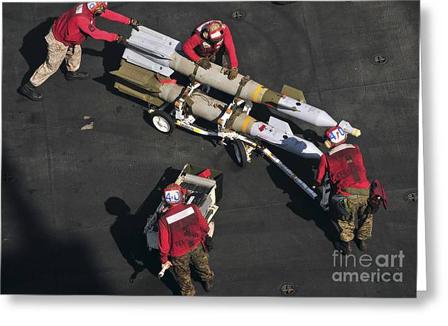 Marines Push Pordnance Into Place Greeting Card by Stocktrek Images