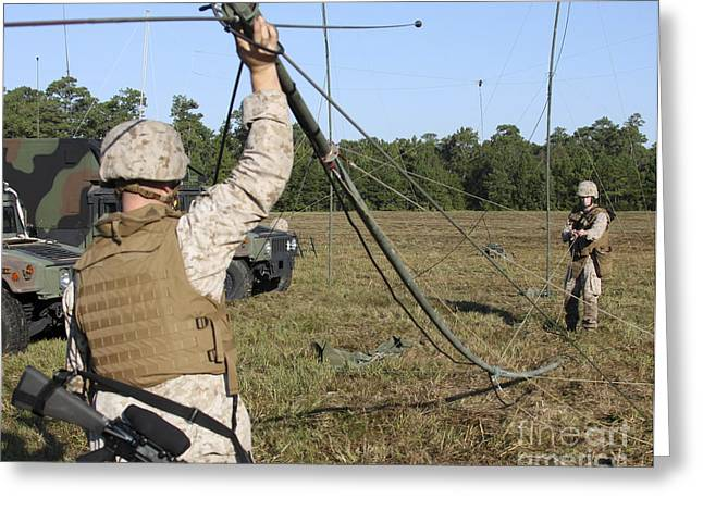 Oes Greeting Cards - Marines Raise An Oe-254 Field Radio Greeting Card by Stocktrek Images