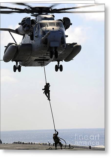 Rappel Greeting Cards - Marines Rappel From A Ch-53e Sea Greeting Card by Stocktrek Images