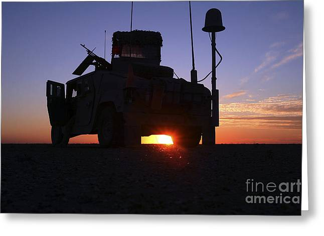 Hmmwv Greeting Cards - Marines Take Up A Security Position Greeting Card by Stocktrek Images