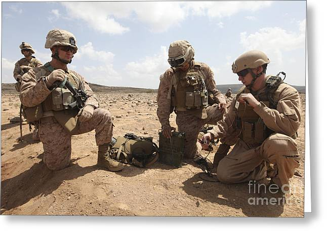 Deployment Greeting Cards - Marines Test A Field Expedient Greeting Card by Stocktrek Images