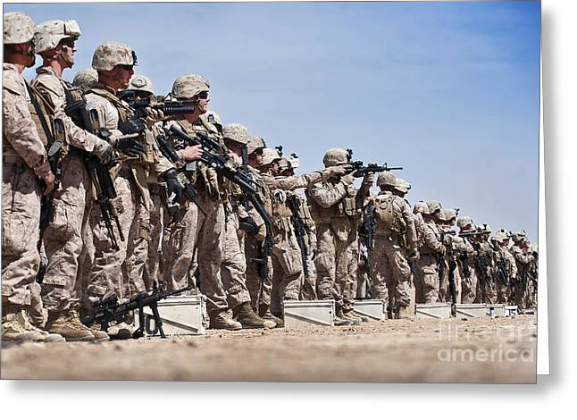 Helmand Province Greeting Cards - Marines Verify The Battle Sight Zeroes Greeting Card by Stocktrek Images
