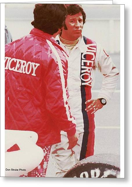 Andretti Greeting Cards - Mario Andretti Is Less Than Pleased Greeting Card by Don Struke