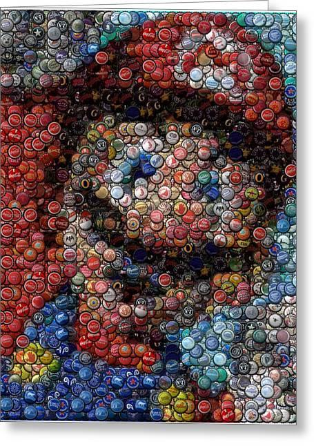 Bottlecap Greeting Cards - Mario Bottle Cap Mosaic Greeting Card by Paul Van Scott