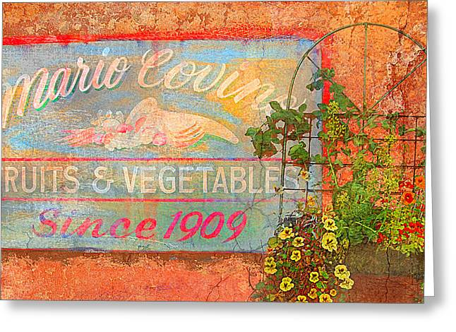Fruit And Flowers Greeting Cards - Mario Covings Fruits and Vegs 1909 Greeting Card by Jeff Burgess