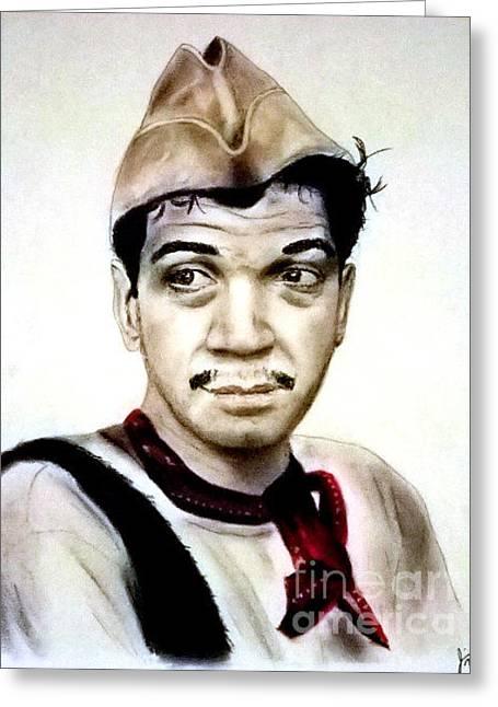 Comedian Pastels Greeting Cards - Mario Moreno as Cantinflas in El Bombero Atomico  Greeting Card by Jim Fitzpatrick