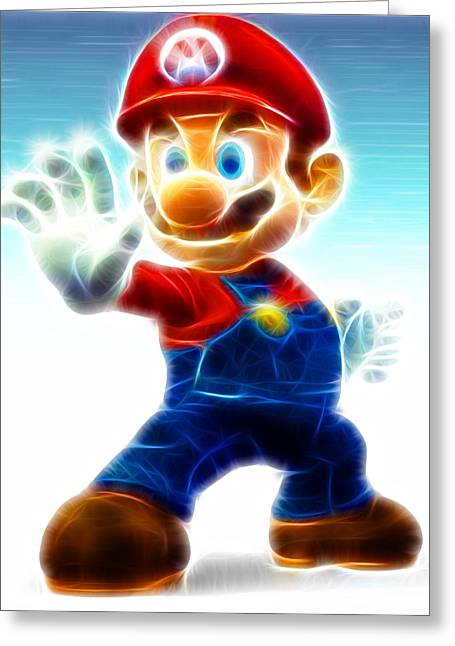 Consoling Drawings Greeting Cards - Mario Greeting Card by Paul Van Scott