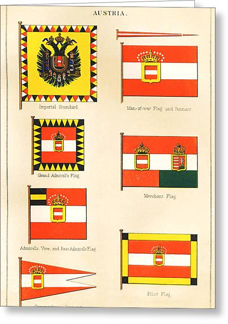 Restoration Drawings Greeting Cards - Maritime Flags of Austria circa 1876 Greeting Card by Steven Wynn