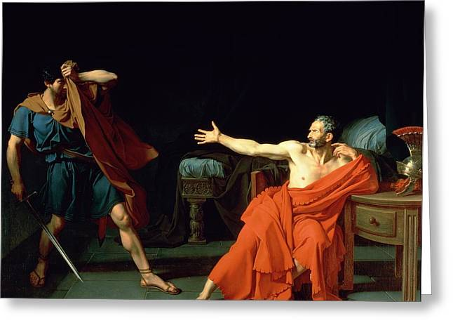 Prisoner Paintings Greeting Cards - Marius at Minturnae Greeting Card by Jean-Germain Drouais