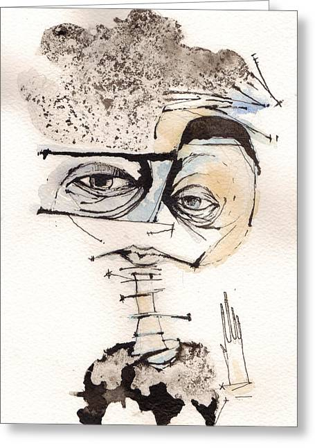 Self-portrait Mixed Media Greeting Cards - Mark M. Mellon with glasses Greeting Card by Mark M  Mellon