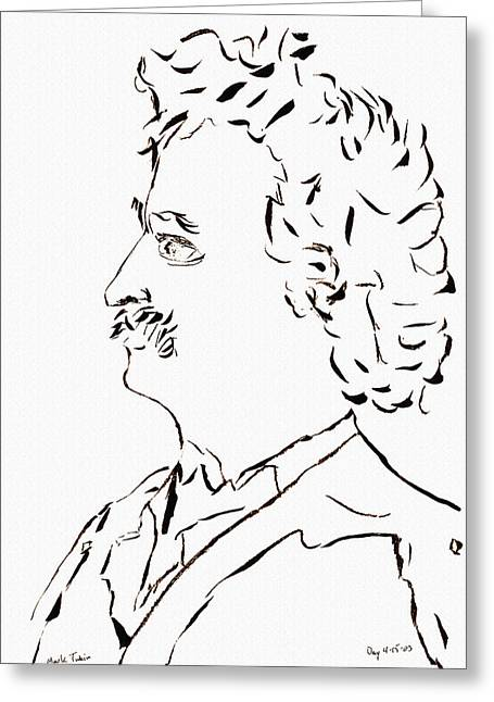 Huckleberry Drawings Greeting Cards - Mark Twain Greeting Card by Day Williams