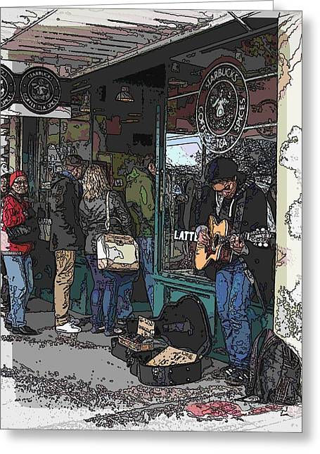 Jagged Border Greeting Cards - Market Busker 3 Greeting Card by Tim Allen