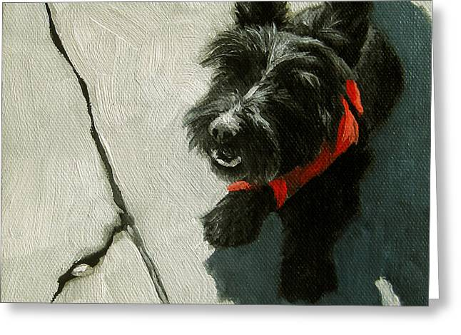 Market Day - Scottie Dog Greeting Card by Linda Apple