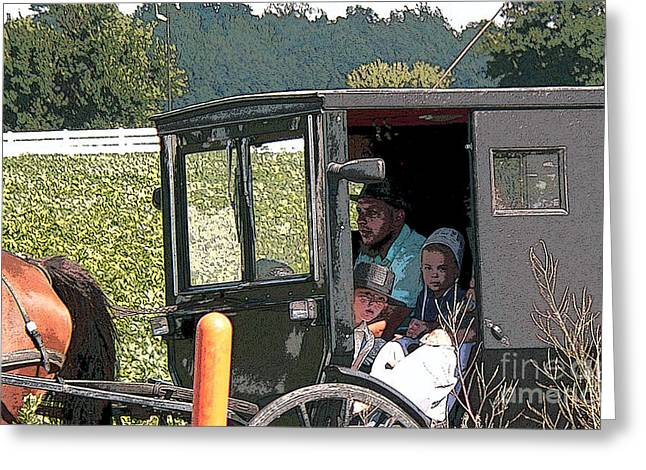 Amish Family Greeting Cards - Market Day Greeting Card by David Bearden