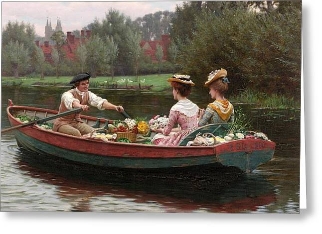 Had Greeting Cards - Market Day Greeting Card by Edmund Blair Leighton