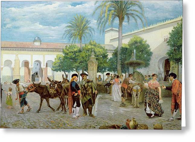 Water Jug Greeting Cards - Market Day in Spain Greeting Card by Filippo Baratti