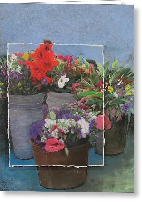 Gladiolas Mixed Media Greeting Cards - Market Flowers in Pails layered Greeting Card by Anita Burgermeister