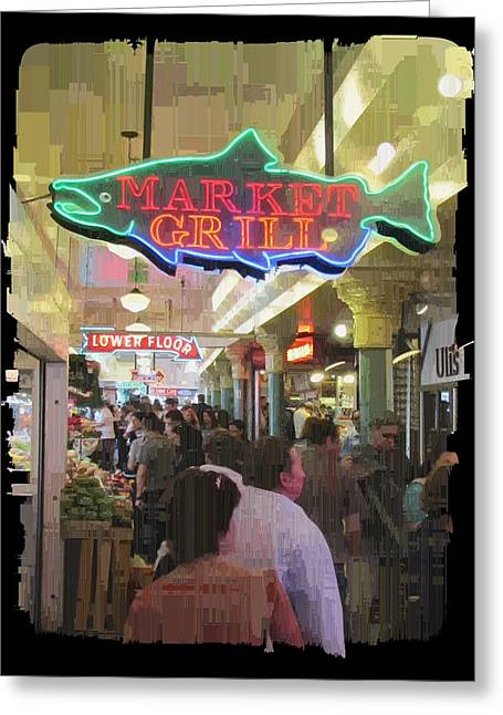 Jagged Border Greeting Cards - Market Grill 3 Greeting Card by Tim Allen