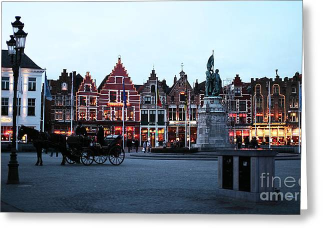 Market Square Greeting Cards - Market Square at Night Greeting Card by John Rizzuto