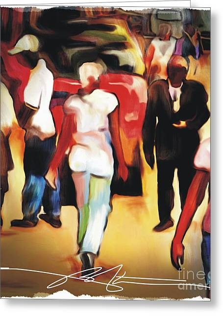 Haitian Mixed Media Greeting Cards - Market Street Scene Greeting Card by Bob Salo