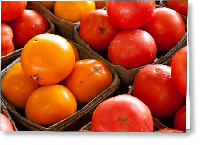 Market Tomatoes Greeting Card by Lauri Novak