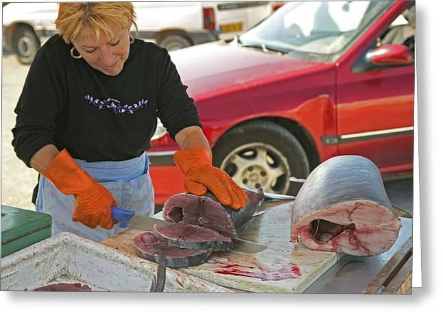 Swordfish Greeting Cards - Market Trader Slicing Fish Greeting Card by Bjorn Svensson