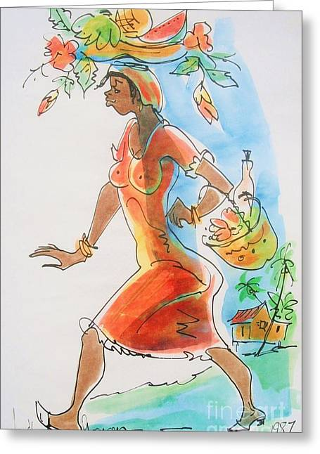 Market Woman Greeting Card by Carey Chen