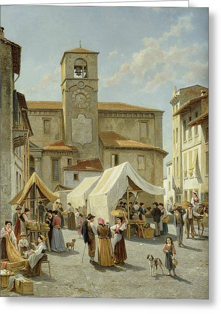 Dog In Lake Greeting Cards - Marketday in Desanzano  Greeting Card by Jacques Carabain