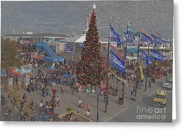Pier 39 Greeting Cards - Marketing Tree Greeting Card by Ron Bissett